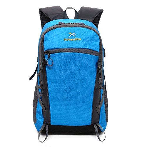 アウトドア 登山 バックパック, 大容量 防水 軽量 多機能 リュック 背中通気スポーツバッグ 男女兼用 ブルー