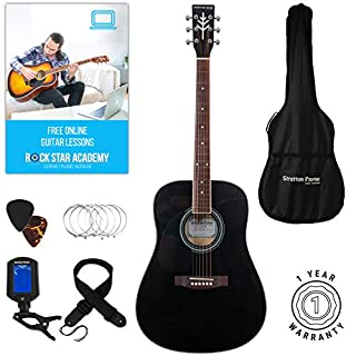 Stretton Payne LEFT HANDED Dreadnought Full Size Steel String Acoustic Guitar PACKAGE D1 Black (B00OJ9N8ZW) | Amazon price tracker / tracking, Amazon price history charts, Amazon price watches, Amazon price drop alerts