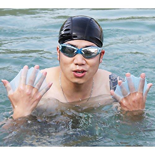ACHICOO Paar Silikon Schwimmen Gear flossen Hand gewebter Flossen Training Flossen Handschuh M blau Blue L Spaßgeschenke für Kinder