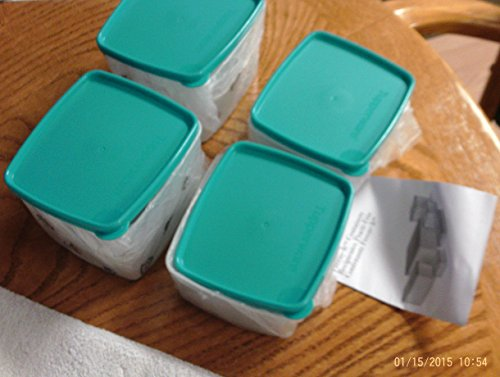 TUPPERWARE FREEZE-IT SMALL CONTAINERS SET OF (4) SHEER WITH TROPICAL WATER SEALS