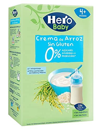 Hero Baby Papilla de Crema de Arroz. Sin Gluten y Sin Azúcares Añadidos. 220gr