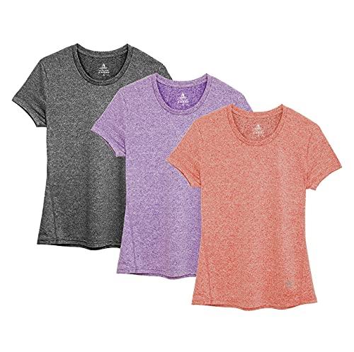 icyzone Camiseta de Fitness Deportiva de Manga Corta Colores Lisos para Mujer, Pack de 3