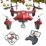 ATOYX Mini Drone para Niños con Cámara, AT-96 RC Quadcopter con App FPV en Tiempo Real, Sensor de Gravedad, 3D Flips, Una Tecla de Despegue/Aterrizaje, Drone de Juguete para y Principiantes, Rojo
