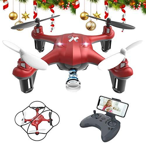 ATOYX Mini Drone para Niños con Cámara,  AT- 96 RC Quadcopter con App FPV en Tiempo Real,  Sensor de Gravedad,  3D Flips,  Una Tecla de Despegue/Aterrizaje,  Drone de Juguete para y Principiantes,  Rojo