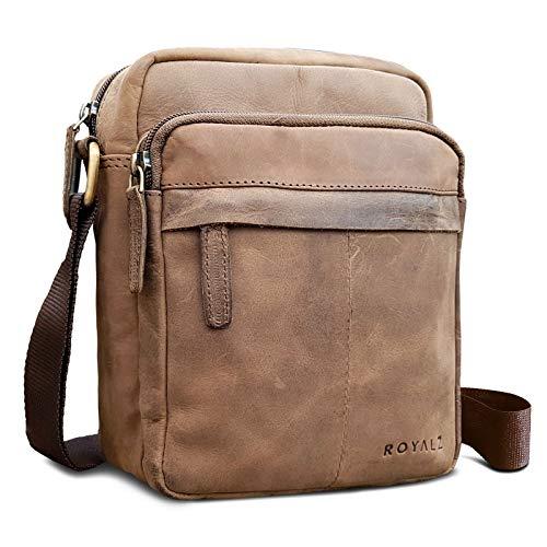 ROYALZ Umhängetasche für Herren Leder klein kompaktes Design Ledertasche Schulter-Tasche Messenger Bag, Farbe:Montana Braun