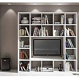 InHouse srls Set Soggiorno Composto da libreria e Porta TV Bianco frassinato, Stile Moderno, in MDF Laminato - Mis. 218 x 30 x 219