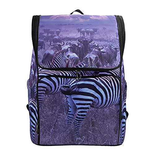 PUXUQU Zebrata selvatica africana zaino scuola zaino zaino borsa portatile bookbag viaggio borsa a tracolla per bambini Womens Mens