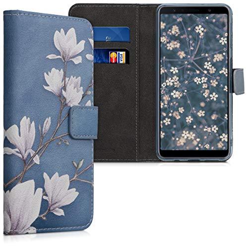 kwmobile Custodia Compatibile con Samsung Galaxy A7 (2018) - Cover Portafoglio Pelle Sintetica con Chiusura Magnetica - Porta Carte Magnolie