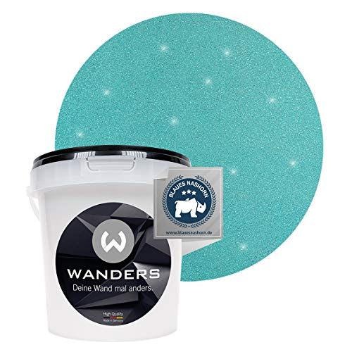 Wanders24® Glimmer-Optik (1 Liter, Silber-Türkis) Glitzer Wandfarbe - Wandfarbe Glitzer - abwaschbare Wandfarbe - Glitzerfarbe - Made in Germany
