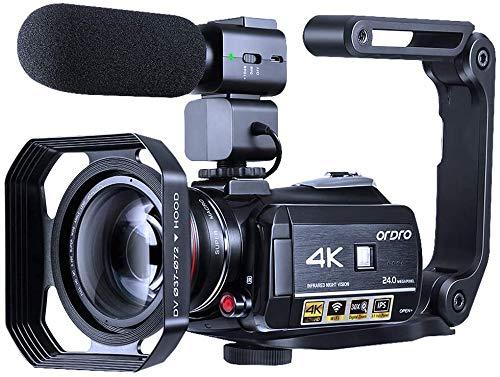 Videokamera 4K Camcorder ORDRO WiFi Ultra HD Vlog Kamera für YouTube, IR Nachtsicht Videorecorder mit Mikrofon, Weitwinkelobjektiv, Gegenlichtblende, 2 Batterien
