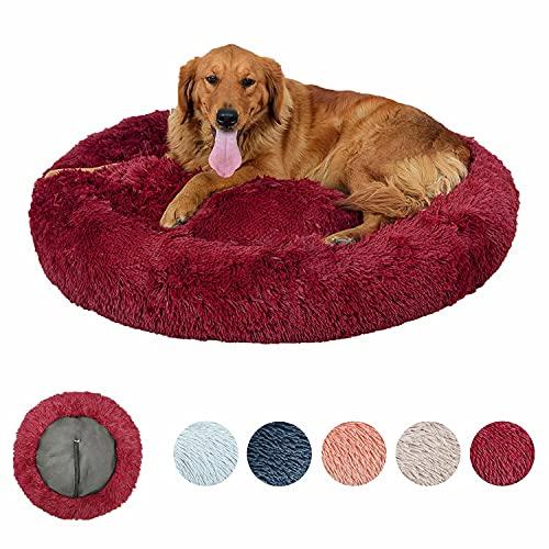 Hundebett Rund Hundekissen,Mit Reißverschluss Abnehmbarer Donut Hundebett,Maschinenwaschbar Plüsch Hundebett Für Große Und Extra Große Hunde 60/80/100/120cm,rot,90cm
