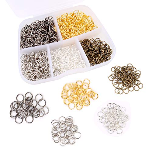 1000 Pieces Jewelry Split Rings, Stainless Steel Open Rings, 5 Colors Jump Rings, Necklace Split Rings with Plastic Box for Jewelry Making, Necklace, Bracelet DIY