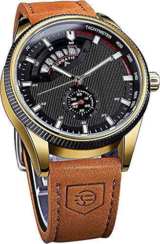 QHG Reloj de Pulsera mecánica automática Militar Relojes Luminosos Impermeables al Aire Libre para Hombres Deportes de Cuero Genuino Reloj Masculino