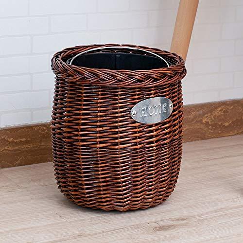 77SRF Handgemachte Rattan Trash Can, kreatives Haus Wohnzimmer Schlafzimmer Küche Badezimmer Abfalleimer, Webstoff Papierkorb, Weiden einfacher Schlauch SRF (Color : Brown)