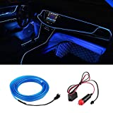 Qiilu Neon Blu Freddo LED per Auto, Strisce LED Fasce Decorative Luci e Barre al Neon Mood Lights