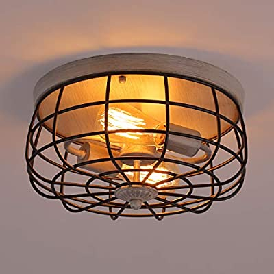Q&S Industrial Farmhouse Semi Flush Mount Ceiling Light Fixture,ORB+Oak White,Metal Cage Rustic Ceiling Lighting for Hallway Entryway Stairway Kitchen Bedroom Dining Room Barthroom,2 Lights.