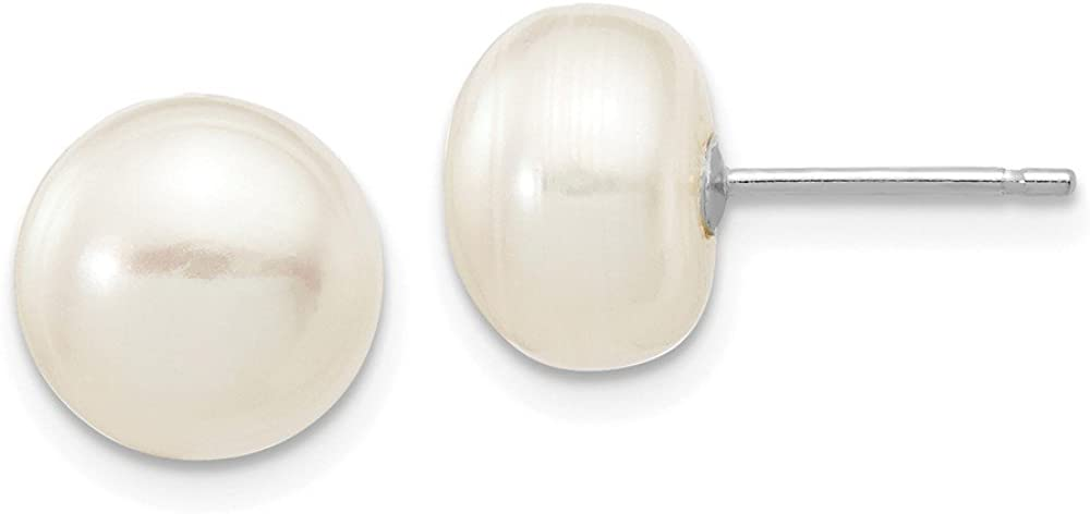 Solid 14k White Gold 8-9mm White Button Freshwater Cultured Pearl Stud Post Earrings mm