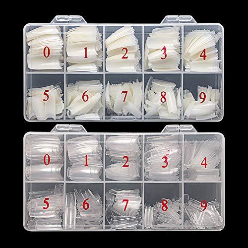 Feugole French Nail Tips Acrylic Flake Nails Half Cover 1000PCS Artificial False Nails Half Tips & Box for DIY Nail Art