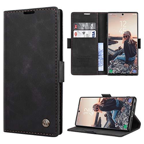 RuiPower Kompatibel für Samsung Galaxy Note 10 Hülle Premium Leder PU Handyhülle Flip Case Wallet Lederhülle Klapphülle Klappbar Silikon Bumper Schutzhülle für Samsung Note 10 Tasche - Schwarz