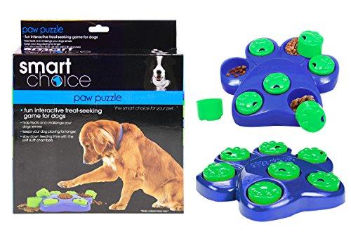 Smart Choice Paw Puzzle Dog Toy Hide Treats Interactive Dog Game Dog Bowl Dog Treats Pet Food, Azul/Verde