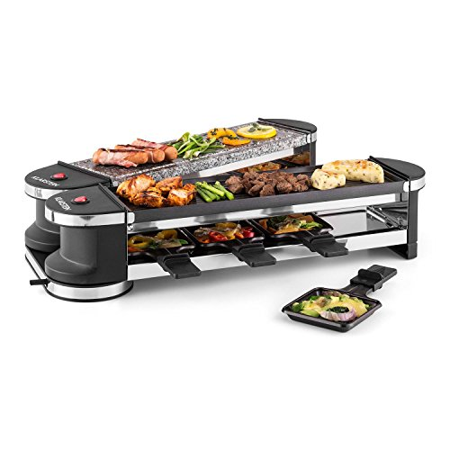 Klarstein Tenderloin 50/50 - Raclette barbacoa eléctrica, Raclette grill 1200/ 600 W, Plancha raclette funcionamiento independiente, 8 personas, 1 plancha de piedra natural, 1 plancha metálica, negro