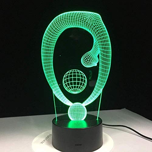OUUED Luz de noche Control remoto Bola de yoga Lámpara 3D 7 colores LED Táctil para niños LED Mesa USB Bebé Luz para dormir Barco, Bonito regalo Regalo de cumpleaños