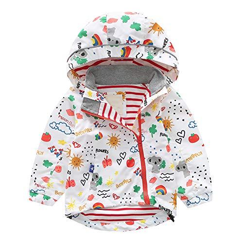 SXSHUN Kinder Jungen Mädchen Winddicht Jacke Übergangsjacke mit Kapuze Baby Baumwolle Windjacke Wanderjacke Outdoorjacke, Weiß#2, 86 (Etikettengröße:90)