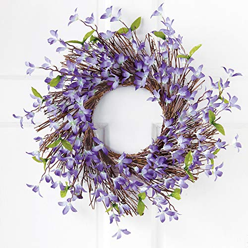 Collections Etc Spring Forsythia Floral Twig Door Wreath - Seasonal Door Accent for Any Room, Lavender