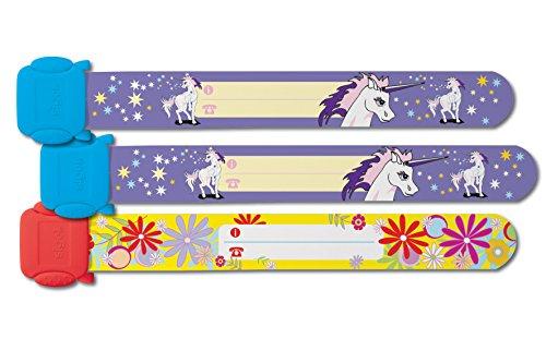 SIGEL SY451 Pulseras de identificación infantiles kids ID, diseño: unicornio, flores, 3 unidades