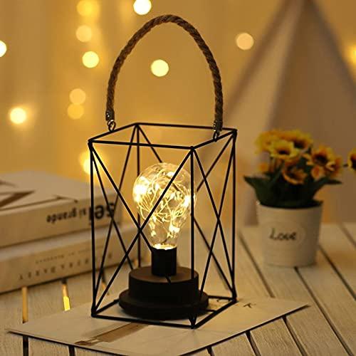 LIUDADA Lámpara de mesita de noche negra de alambre de metal lámpara de mesa moderna luz nocturna de hierro lámpara de mesa lámpara de escritorio para dormitorio boda fiesta interior exterior camping