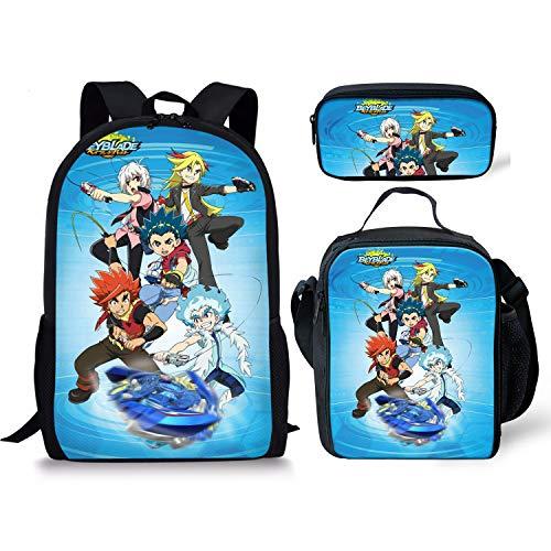 Bey-blade Kinomiya Takao Kids Backpack Book Bag Rucksack -Lightweight School Bags with Lunch Bags for Student Men Women (Set 1)