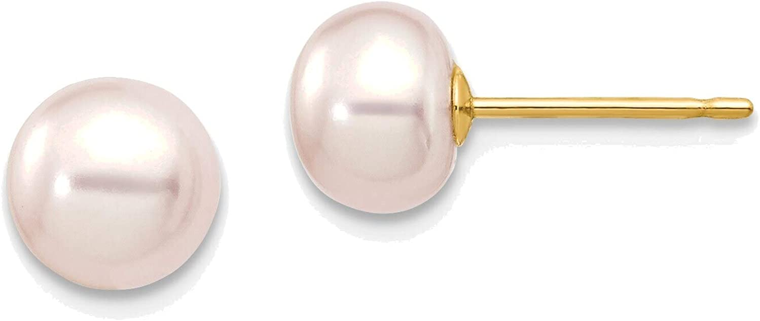 6-7mm Purple Button Freshwater Cultured Pearl Stud Post Earrings in 14K Yellow Gold