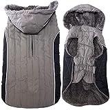 JoyDaog Fleece Dog Hoodie for Medium Dogs Super Warm Doggie Jacket for Cold Winter Dog Coats,Grey L