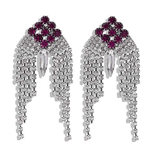 JIAJBG Pendientes de Tassel de Imitación de Diamantes de Imitación Larga Cadena de Garras Pendientes para Mujer Pendientes de Diamante Imitado Completo Regalos de Cumpleaños para Mu