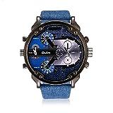 iLove EU Montre-bracelet pour homme à quartz japonais, analogique, 4 mouvements, 4 fuseaux horaires, montre de luxe avec cadran bleu denim et bracelet en cuir