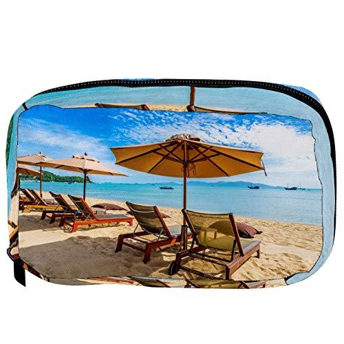 LoRVIES Bella - Silla de sombrilla de árbol de coco, playa, tropical, bolsa de maquillaje, bolsa de viaje, organizador de aseo para mujeres