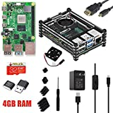 ARCADORA Raspberry Pi 4 Full Assembled Kit Starter PRO Kit - 4G Ram 32G Micro SD Card Pre-Loaded Noobs, with Transparent Case, Cooling Fan, Heat Sink