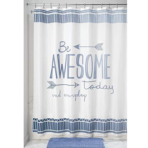 mDesign Cortina de Ducha antimoho – Cortina de baño de Secado rápido – Cortina bañera con 12 Ojales precosidos para un fácil Montaje – Azul