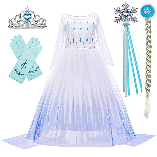 BanKids Kinderkostüm Frozen 2 ELSA Kostüm Mädchen Prinzessin Kleid mit Perücke, Krone, Streitkolben, Handschuhen 6-7 Jahre (130,K11)