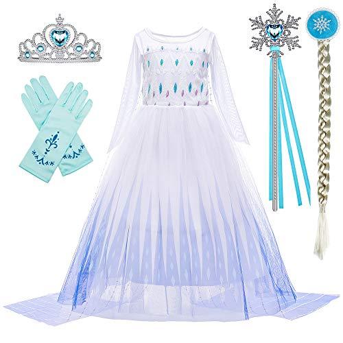BanKids Disfraz infantil de Elsa Frozen 2, vestido de princesa con peluca, corona, pistón, guantes, 9-10 años (150,K11)