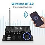 Moukey Compact Stereo Power Amplifier Wireless Peak Power 50W Dual Channel Hifi Audio Receiver FM USB AUX for Car Home Speakers with Remote Control, MAMP2