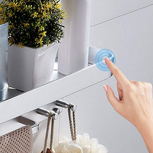 HLL Estantes de baño sin perforaciones, estante de ducha de 1 capa con barra para colgar, cesta de almacenamiento rectangular para organizador de ducha, nunca se oxida, aluminio espacial, plateado,Pl