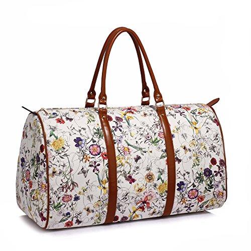 Anna Grace Vintage Reisetasche Blumenmuster Wasserdicht Weekender Tasche Duffle Bag Groß Wochenend Tasche Herren Damen (Weiß)