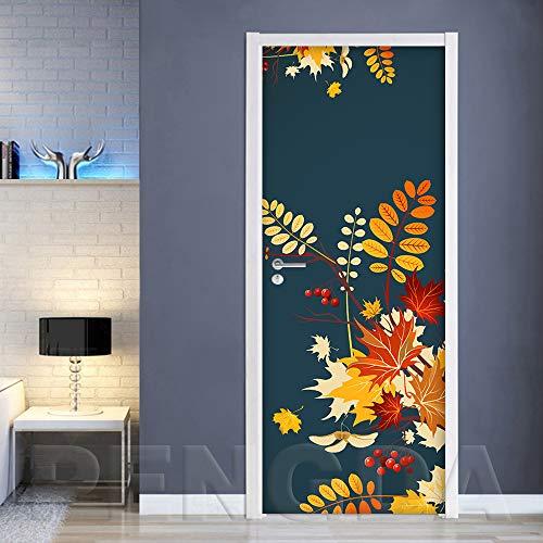 ANHHWW 3D Door Mural Colorful Artistic Leaves Fruit Office PVC Self Adhesive Art Door Stickers for Interior Doors, Bedroom Living Room Bathroom House Decoration 88 X 200 cm Poster Wallpaper