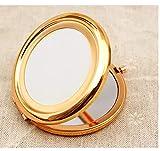 Miroir de Poche Compact Miroir de Voyage Mini Miroir de Maquillage Rond Rétro 70mm Large Miroir Lumineux,Or Rose
