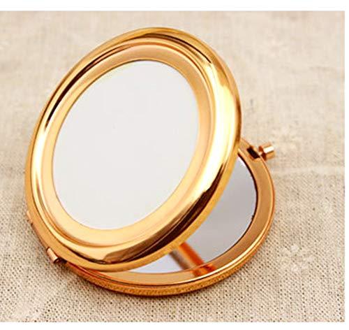Longsing Taschenspiegel Tragbarer Taschenspiegel Reise klappbarer Mini Retro Runder Schminkspiegel 70mm Breiter Beleuchteter Spiegel,Roségold