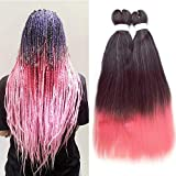 Ombre Pre-stretched Braiding Hair Extensions Pink Synthetic Yaki Straight Itch Free Crochet Twist Hair Braids 24 inch 100g/pc 6 bundles/lot…