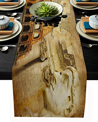 FAMILYDECOR Camino de mesa de arpillera de lino, bufandas de 45,7 x 182,8 cm, Coliseo en la antigua Roma, caminos de mesa para fiestas de vacaciones, comedor, cocina, decoración de boda