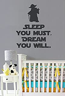 Sleep You Must, Dream You Will Vinyl Wall Decal - Star Wars Style Yoda Silhouette and Quote - Removable Text Wall Decal - Star Wars Decals for Kids - 11.5