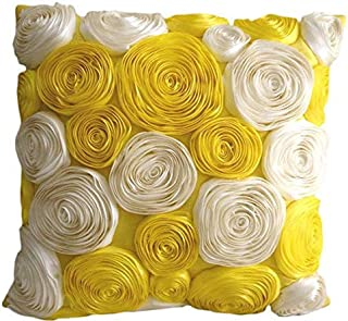 The HomeCentric Decorative Yellow Designer Throw Pillow Covers 16x16 inch, Silk Pillow Covers, Nature & Floral, Ribbon Embroidery, Modern Throw Pillows for Couch - Sunny Yellow Blooms